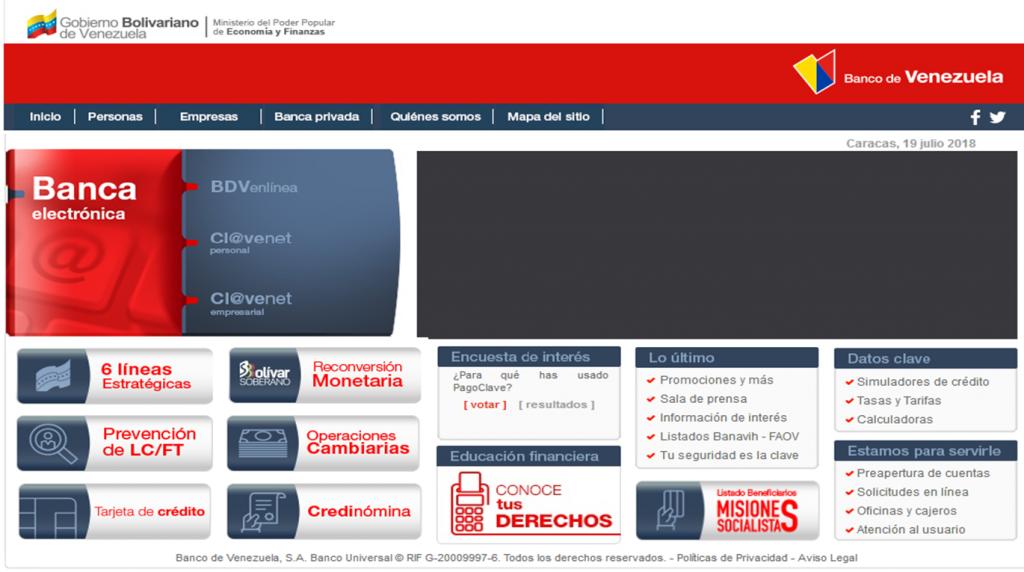 página del banco de venezuela