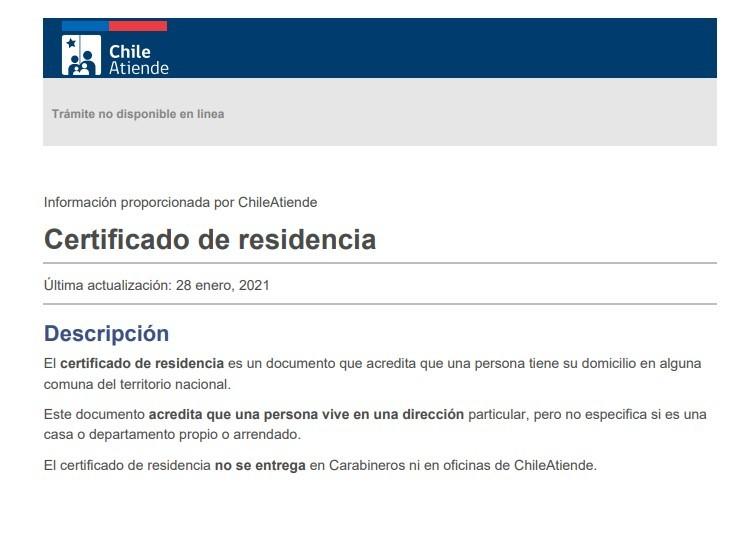 certificado de residencia en Chile