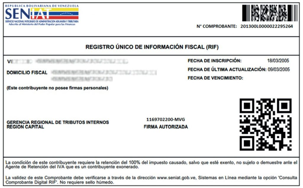 Requisitos para consulta de RIF SENIAT